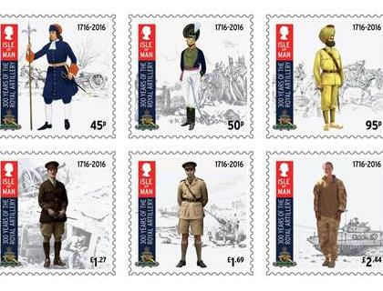 ISLE OF MAN POST OFFICE STAMPS CELEBRATE 300 YEARS OF THE ROYAL REGIMENT OF ARTILLERY