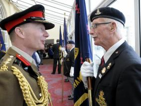 The Regimental Colonel inspecting the Standard Bearers