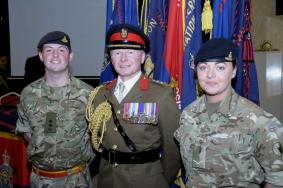 Lt Thomas & Bdr Hedges with the Regt Col