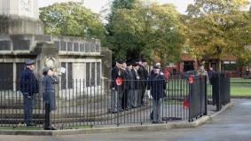 A couple of members from the Widnes Branch observing the silence at the towns cenotaph November 11th.