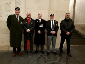 "SUFFOLK AND NORFOLK YEOMANRY ASSOCIATION. Saturday 18th November, members of the Association came together with an old friend Mr Chris Meachem, to lay a wreath at the Menin Gate, Ypres, Belgium. Well done Gentlemen ""WE WILL REMEMBER THEM""."