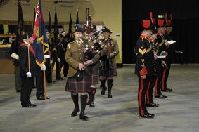 103 Regt Pipers at the Sunset Ceremony