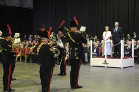 The Band Saluting the Mayor of Blackpool and Gen Milne