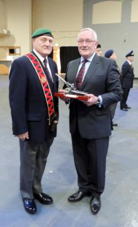 Mr T Wilson receiving his trophy for the last 3 years service
