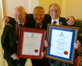 RAA Medal and Certificate of Merit winners Robin Hicks and Trevor Lisseman celebrate with CO 74 Support Battery, Chass Broadfoot, at this year's Blackpool Assembly, 21 May 2016.