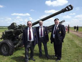 Branch members Trevor Lisseman, Dave Soley and Bert Gatehouse attending the Royal Review at Larkhill, 26 May 2016