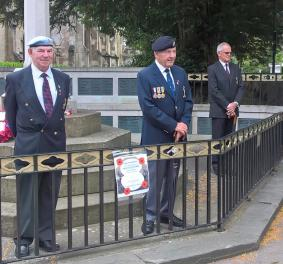 RAA Branch members Robin Hicks, Peter Simmons and David Griffiths 'on guard' besides Newbury's war memorial, to mark the 100th anniversary of the Battle of the Somme, 1 July 2016.