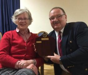 Branch member Janine Westropp and CO 74 Support Battery, Chass Broadfoot, with the 'Westropp Trophy', awarded to the winner of the unit's annual essay competition, 5 October 2016.
